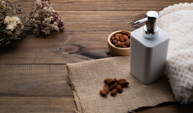 Almond seeds and soap dispenser