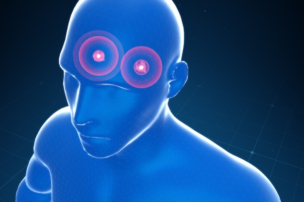 Almond-shaped body in the brain emitting fear