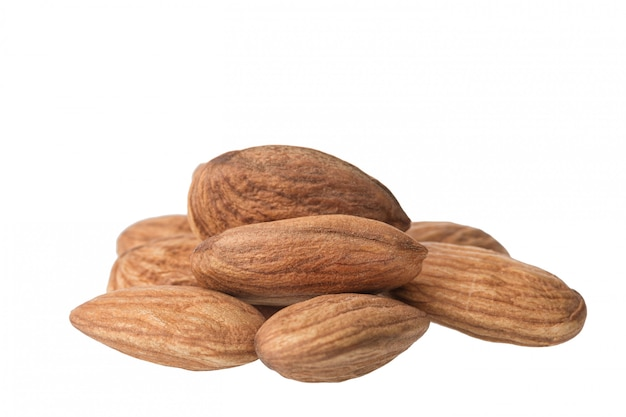 Almonds, close up, isolated
