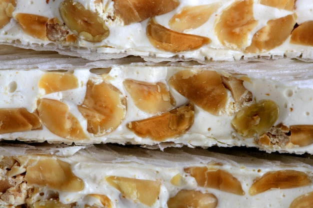 Almonds and honey sweet nougat