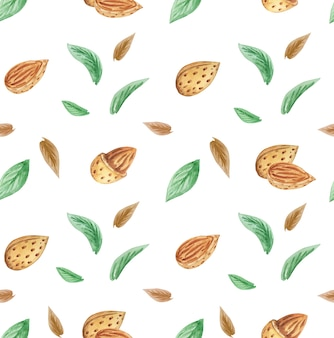 Almonds and leaves seamless pattern, nuts pattern, hand drawn watercolor nuts background