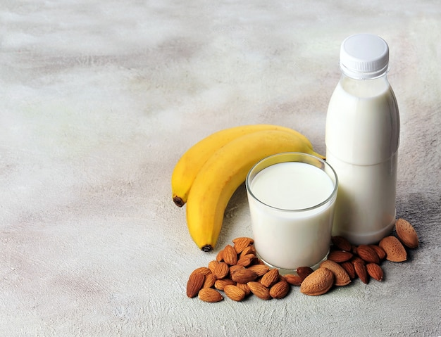 Almonds milk with nuts and banana. healthy breakfast.