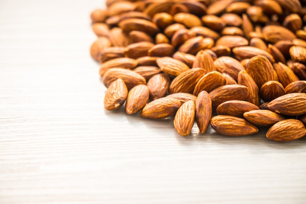 Almonds nut with copy space