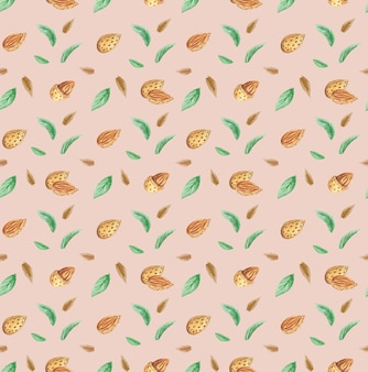 Almonds nuts and green leaves seamless pattern, watercolor illustration of nuts, almonds background