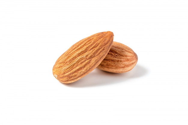 Almonds nuts isolated on white \