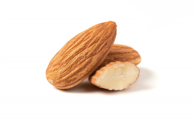Almonds nuts isolated on white