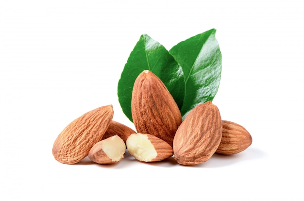 Almonds nuts with leaf isolated on white background,