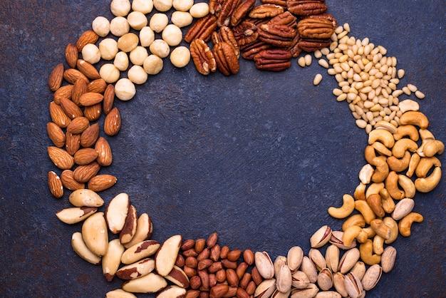 Almonds, pecan, macadamia, pistachio, and cashew