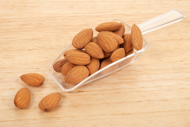 Almonds on white background. healty food concept.