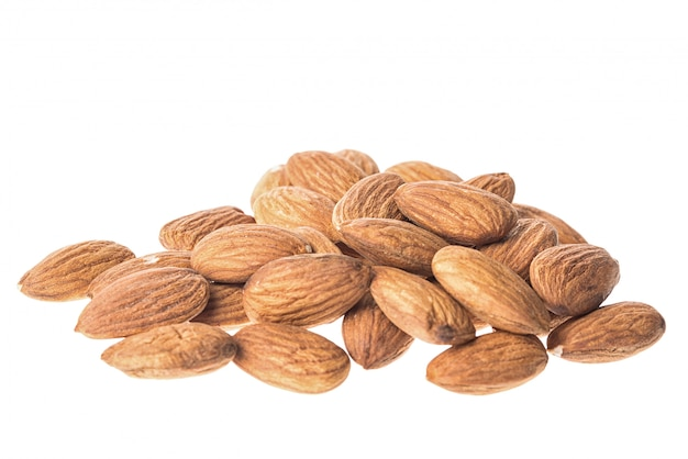 Almonds on white, close up, isolated on white