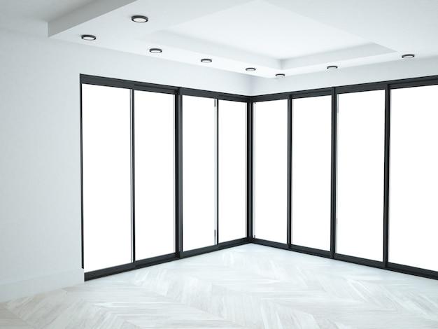 Почти пустая белая комната с панорамными окнами стен
