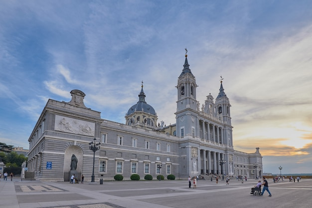 Almudena cathedral of madrid and sunset