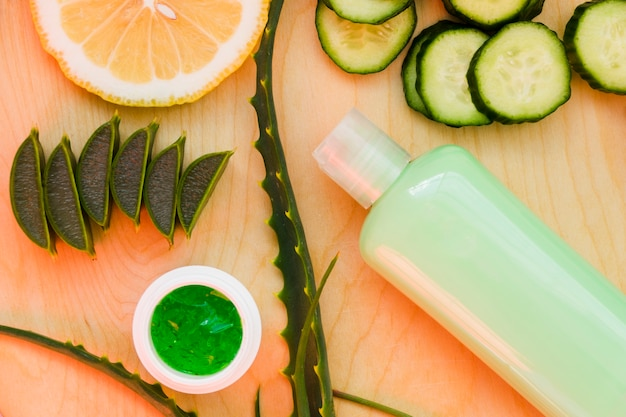 Aloe vera and cucumber with beauty cream
