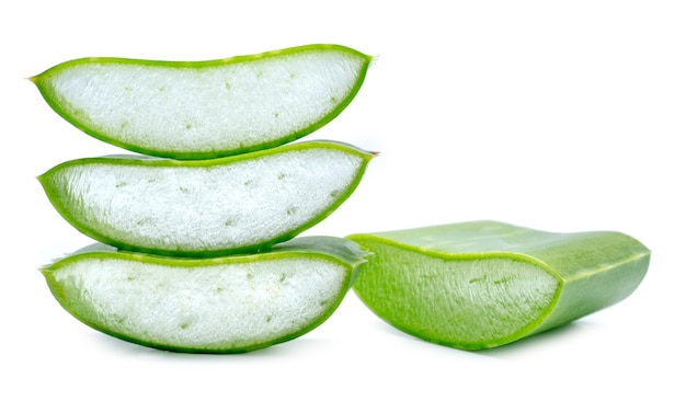 Aloe vera fresh leaf isolated on white.