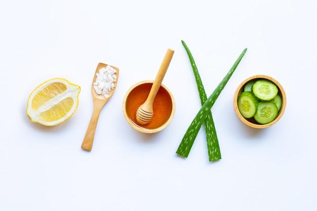 Aloe vera gel, lemon, cucumber, salt, honey. natural ingredients for homemade skin care