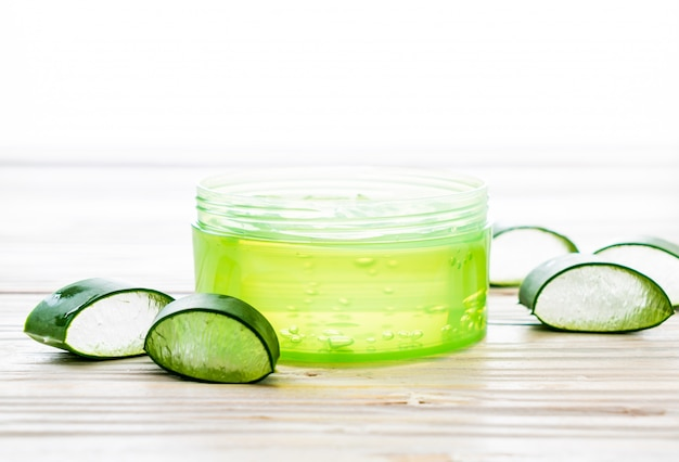 Aloe vera gel with aloe sliced