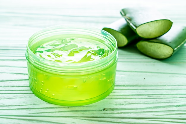 Aloe vera gel with aloe sliced
