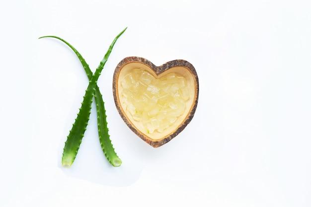 アロエベラは健康と美容、白い背景のための人気の薬用植物です。