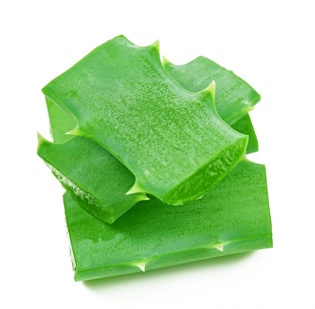 Aloe vera leaf and slices isolated