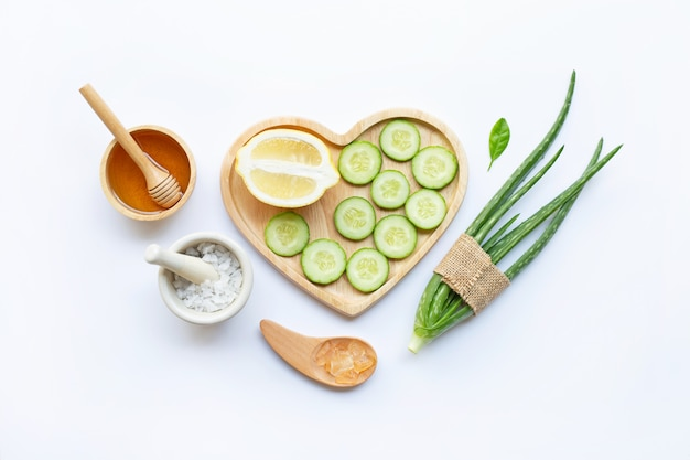 Aloe vera, lemon, cucumber,  salt, honey.  homemade skin care