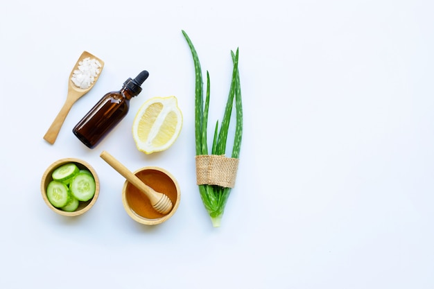 Aloe vera, lemon, cucumber, salt, honey. natural ingredients for homemade skin care