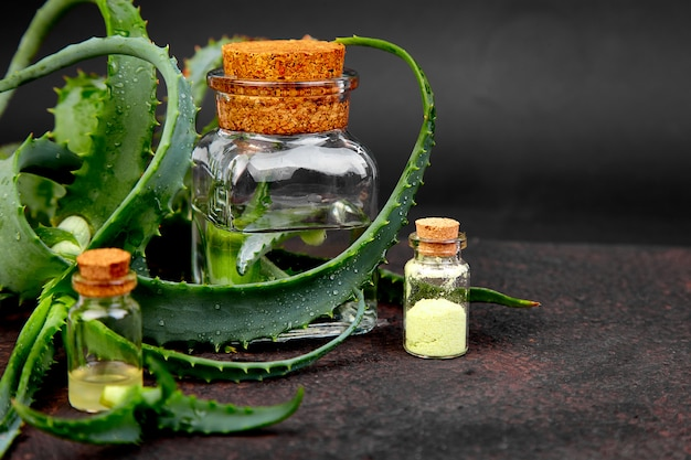 Aloe vera oil in glass bottle