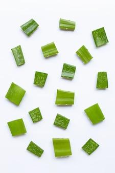 Aloe vera pieces on white