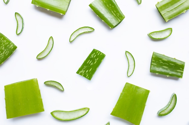 Aloe vera pieces with  slices on white