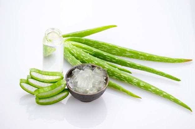 Aloe vera slice on white background