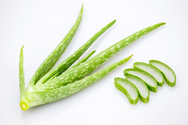 Aloe vera slice on white background