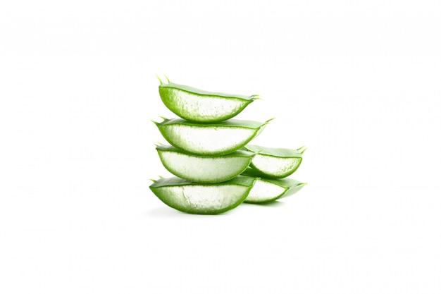 Aloe vera slices isolated on white. herbal medicine