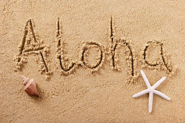 Aloha hawaii handwritten beach sand greeting message