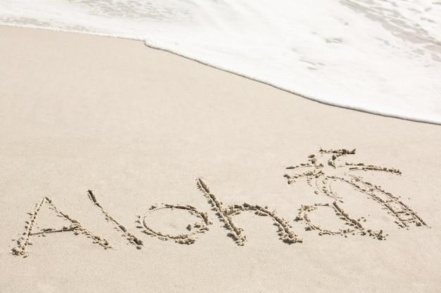Aloha written on sand