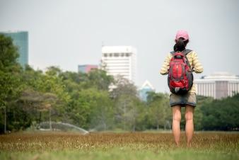 Alone asian woman travel in bangkok thailand