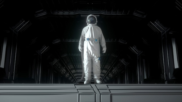 Alone astronaut in futuristic space corridor, room. the planet earth reflects in a spacesuit helmet. 3d rendering.