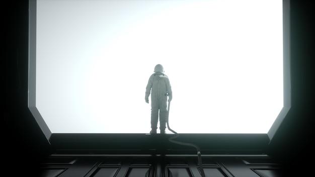 Одинокий космонавт в футуристическом интерьере. научно-фантастический зал с огромным окном. 3d рендеринг.