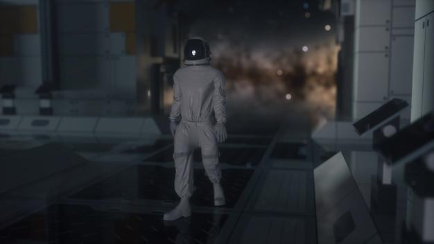 미래 우주선, 방에 혼자 우주 비행사. 3d 렌더링