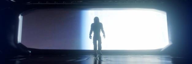 宇宙船の中の一人の宇宙飛行士。 sf宇宙探査のコンセプト。 3dレンダリング