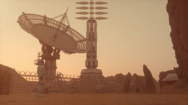 Одинокий космонавт на планете марс смотрит на базу в пустынном пейзаже