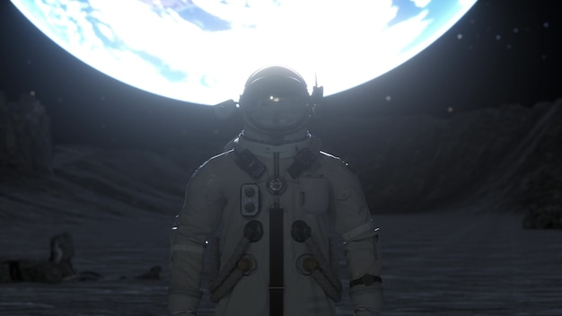 Alone astronaut stands on the surface of the moon against the backdrop of the planet earth. 3d rendering.