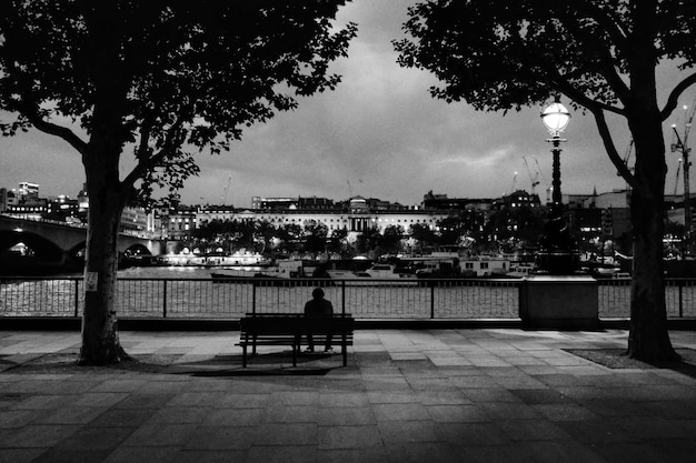 Alone man in a park