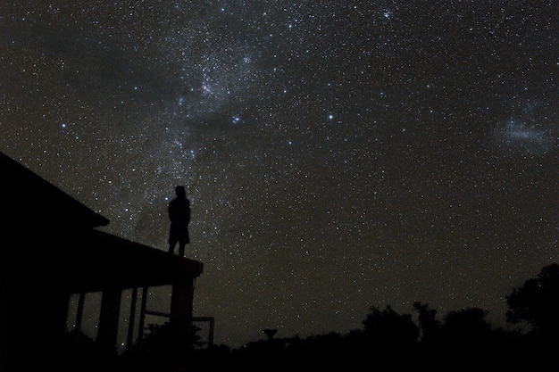 Alone man on rooftop watching mliky way and stars in the night sky