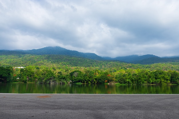 Along road landscape view in ang kaew chiang mai university forested mountain.
