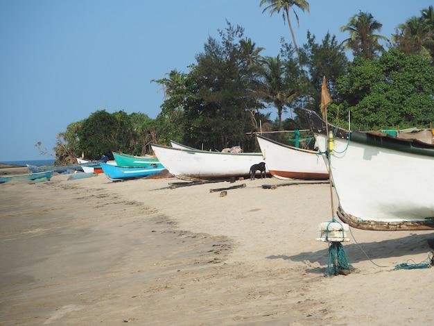 Вдоль побережья по песку много рыбацких лодок.