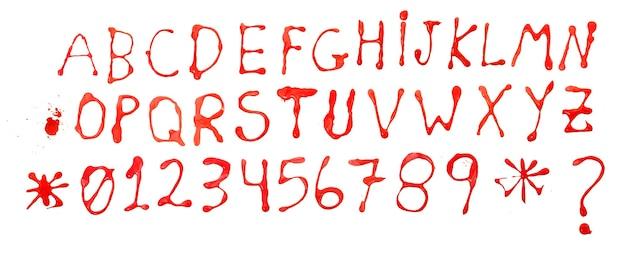 Алфавит и числа абстрактные пятна капель чернил капли, изолированные на белом фоне.