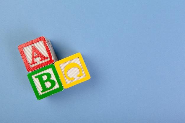 Alphabet blocks abc close up, education concept