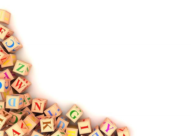 Блоки алфавита разбросаны по углу - 3d визуализация