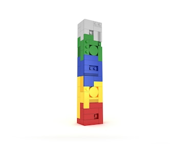 Alphabet Colorful block brick type Perspective font 3d Rendering on white background
