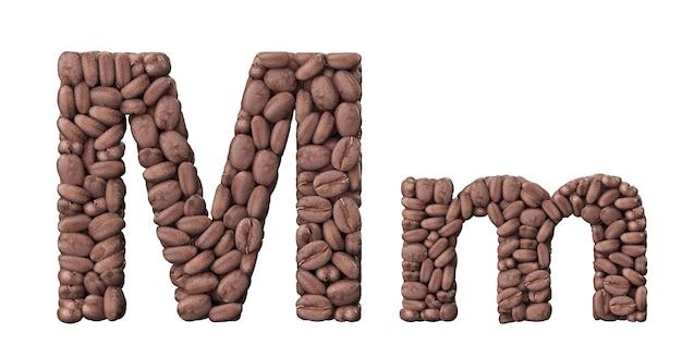 커피 콩에서 알파벳입니다. 흰색 배경에 고립 된 편지 m 커피 디자인