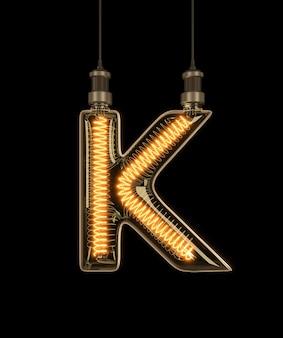 Alphabet k made of light bulb.